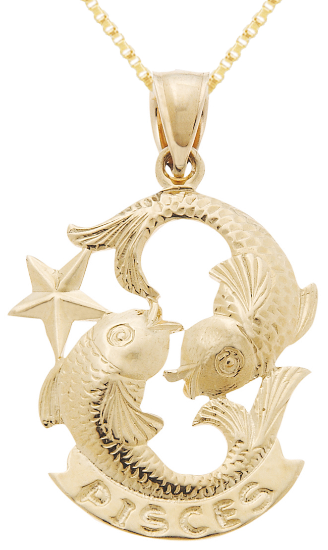 new 14k yellow gold zodiac pisces fish charm march april